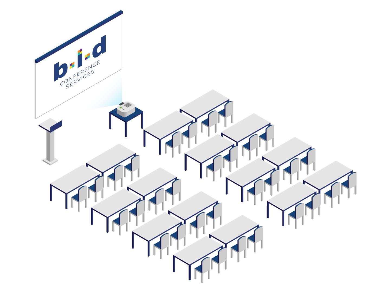 Izometrická grafika konferenčního sálu B.I.D. services